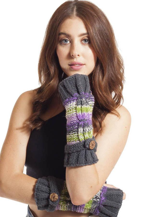 Colorblend Fingerless Wool Arm Warmers