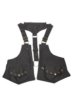 Vegan Steampunk Zip Pocket Canvas Festival Holster-Black-One Size
