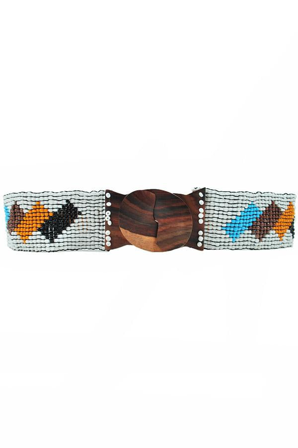 Blocks Beaded Stretchy Bali Belt