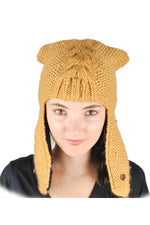Hand Knit Warm Winter Kitty Ears Snow Hat