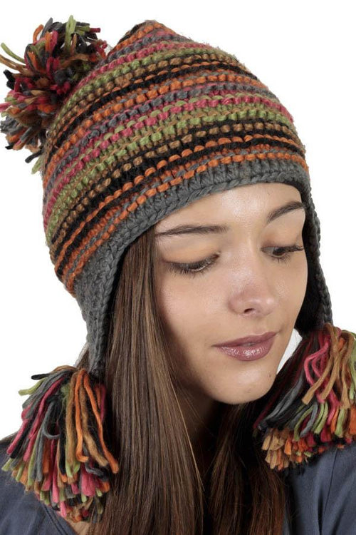 Women's hand knit acrylic wool bella hat with pom poms