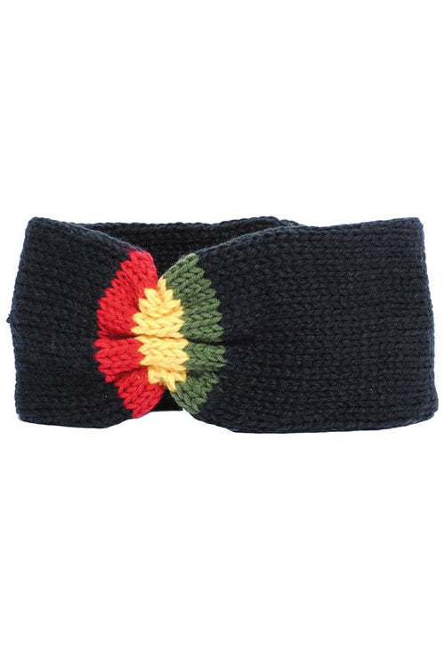 Unisex knit Rasta Reggae winter headband-Black