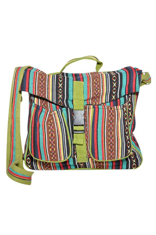 Cotton canvas bohemian hippie messenger bag-Olive-One size