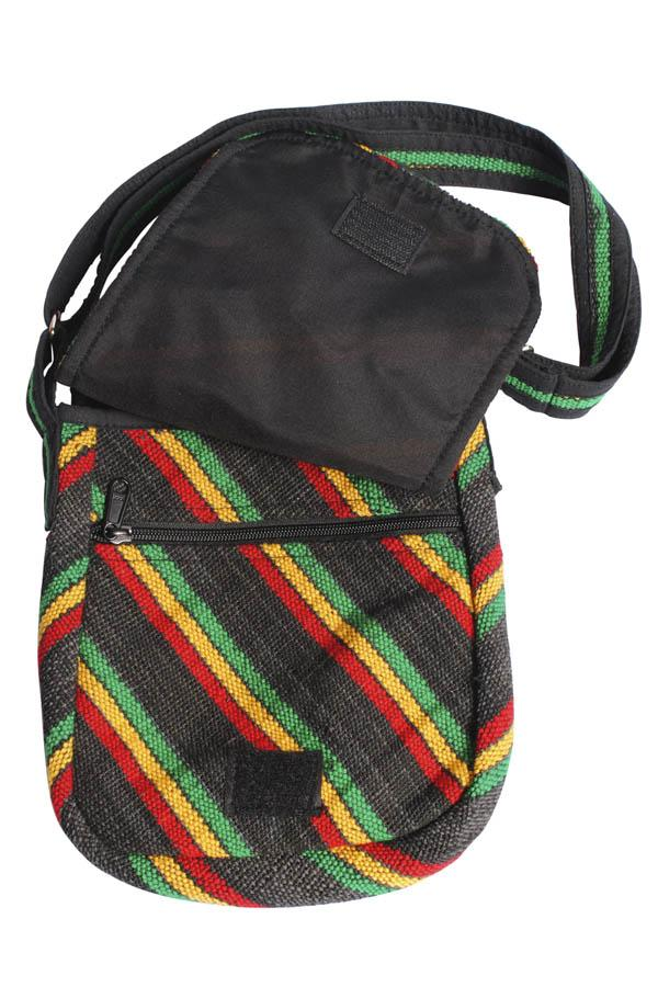 Natural Hemp Reggae Stripe Eco Crossbody Purse-rasta