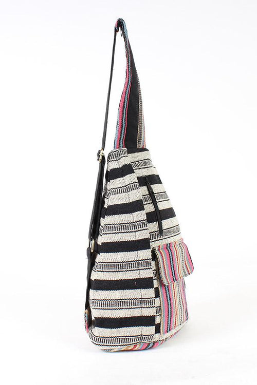 Rustic Stripe Crossbody Sling Backpack