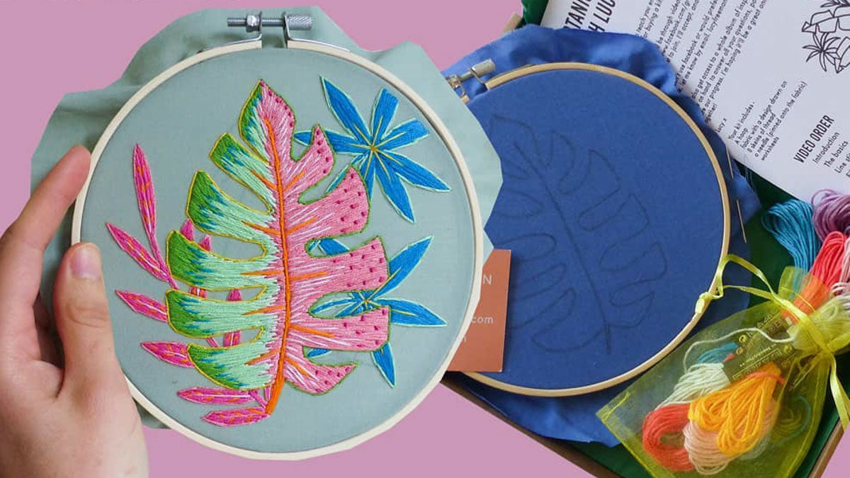 Best craft kits for adults - botanical embroidery kit by Lucy Freeman