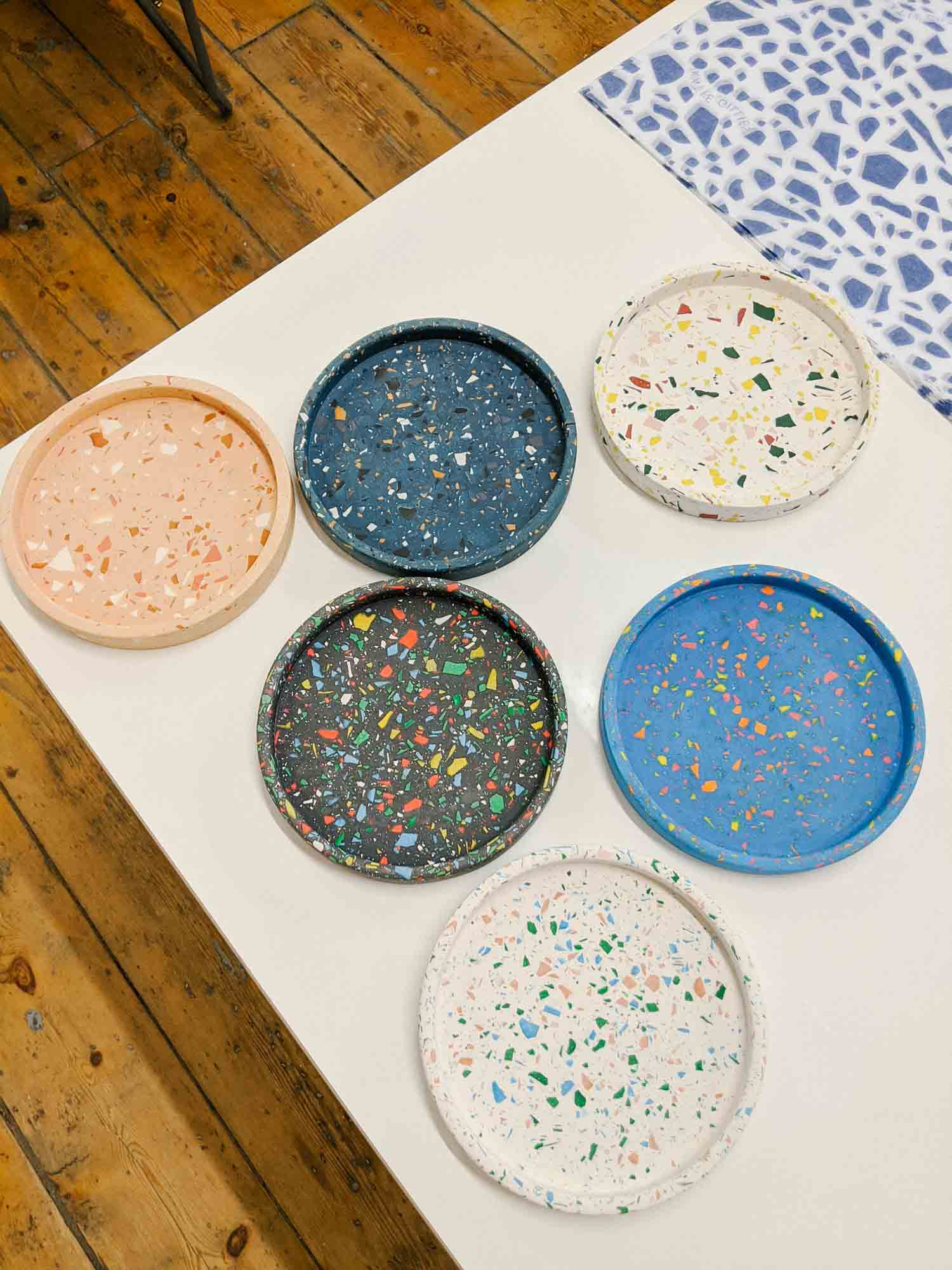 Terrazzo trays made on jesmonite casting class in Leeds at Today Studio with Katie Gillies