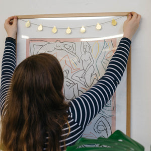 Brass raindrop garland made with wall hanging kit