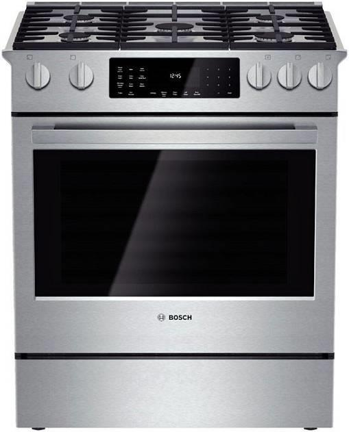 "Bosch Benchmark 30"" 4.6 cu. ft 5 Burners Slide-in Dual-Fuel Range HDIP054U - ALSurplus AL"