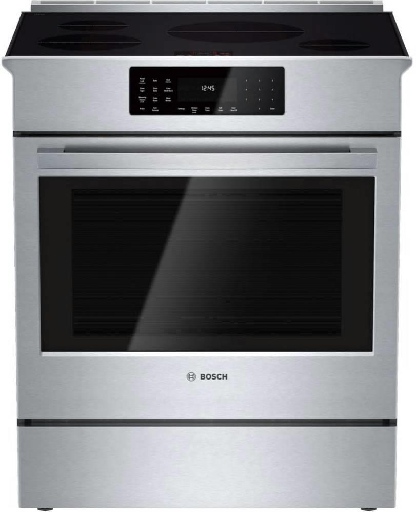"Bosch 800 DLX 30"" 4Induction Elements Convection Slide-In Range HII8055U Perfect - ALSurplus AL"