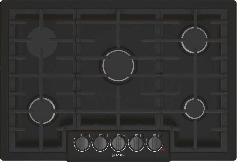 "Bosch 800 Series 30"" 5 Burner Red LED Black Stainless Gas Cooktop NGM8046UC - ALSurplus AL"