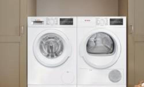 Bosch 300 Series WHT Front Load Washer + Dryer White WAT28400UC / WTG86400UC - ALSurplus AL