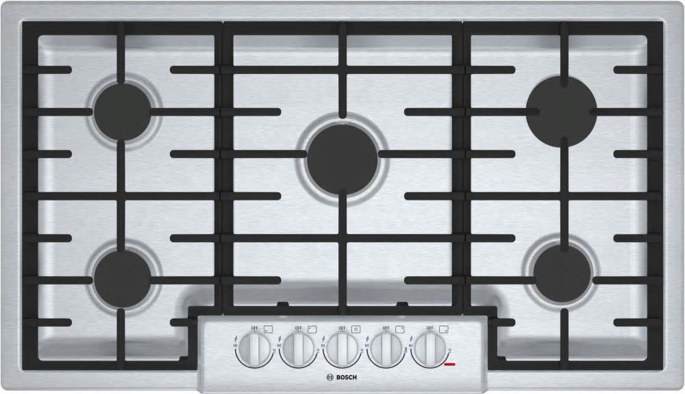 "Bosch 800 Series 36"" LED Indicator Lights 5 Sealed Burners Gas Cooktop NGM8656UC - ALSurplus AL"