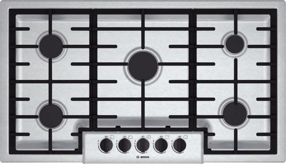 "Bosch 500 Series 36"" 5 Sealed Burners Stainless Steel Gas Cooktop NGM5656UC - ALSurplus AL"