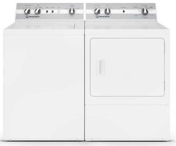 NIB Speed Queen White Top Load Washer & Front Load Dryer TC5000WN / DC5000WE Set - ALSurplus AL