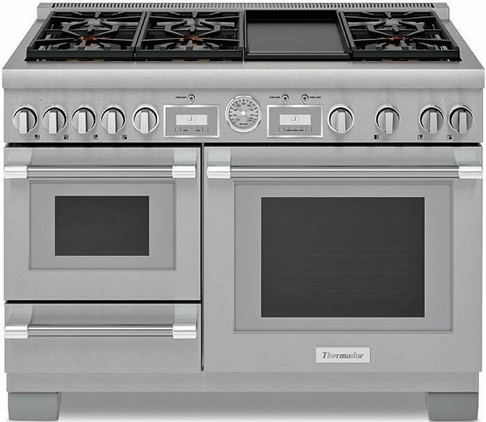 "Thermador 48"" Pro Grand Stainless Steel Home Connect Dual Fuel Range PRD48WDSGU - ALSurplus AL"