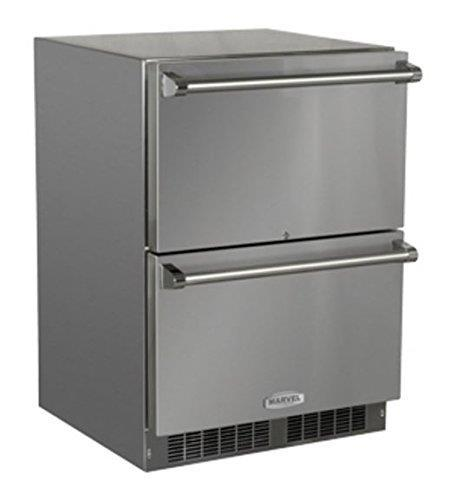 "Marvel 24"" Stainless Steel Outdoor Refrigerator Drawers - MO24RDS3NS - ALSurplus AL"