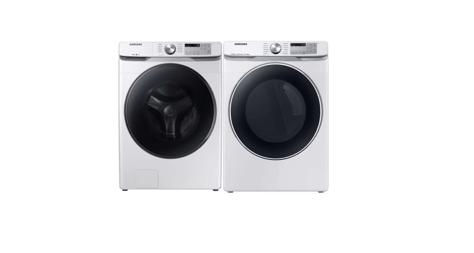 Samsung Front Load Electric Washer & Dryer 27' 'WF45R6100AW / DVE45R6300W - ALSurplus AL