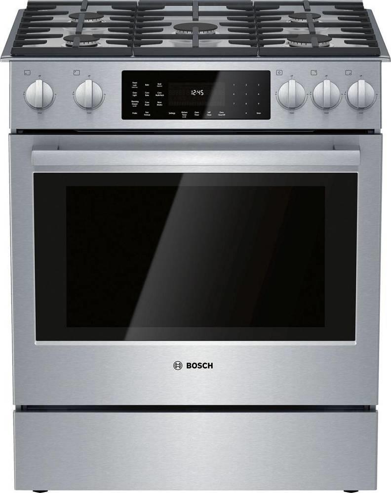 "Bosch 800 Series 30"" European Convection Slide-In Dual Fuel Range HDI8056U - ALSurplus AL"