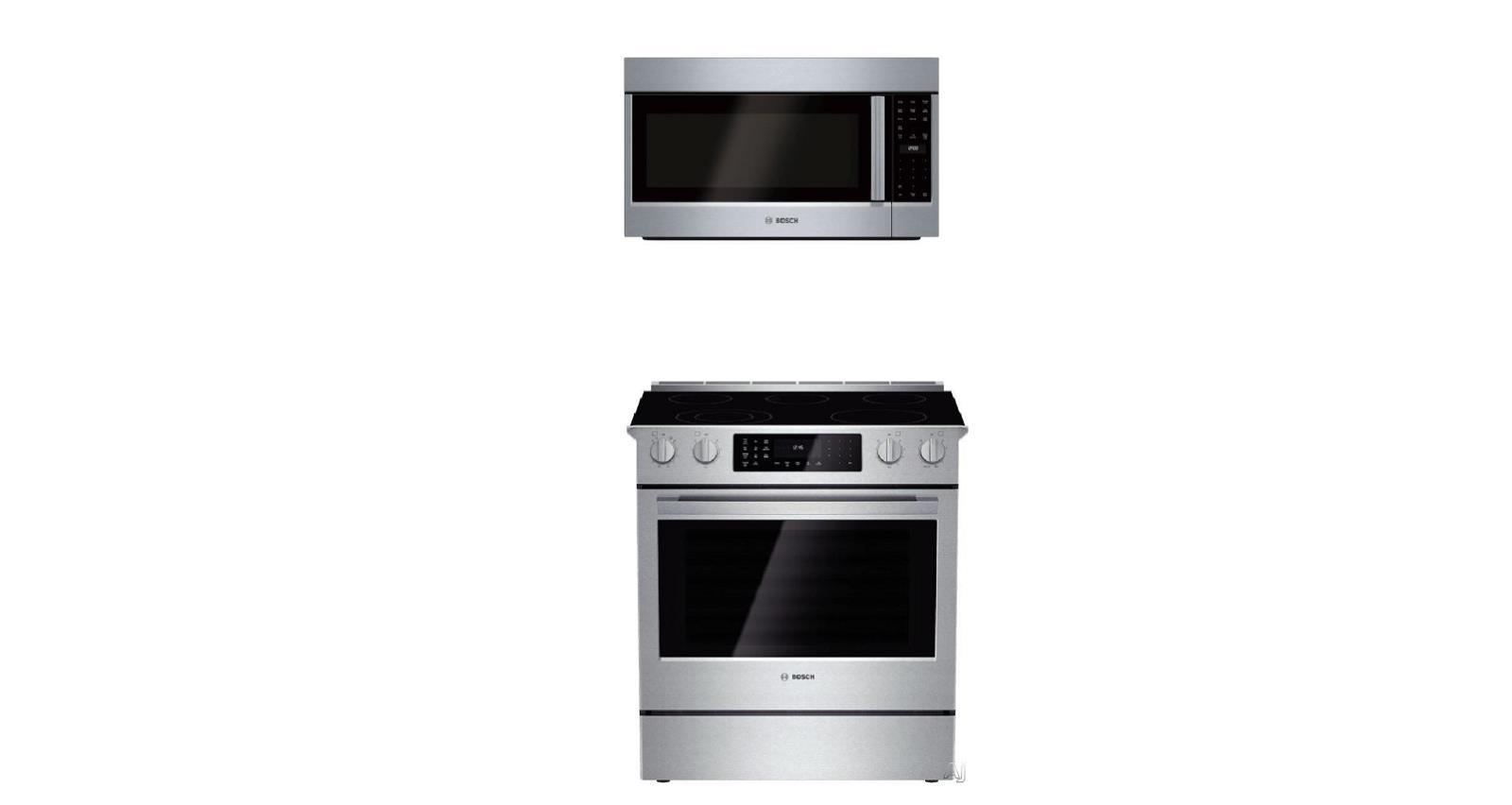 "Bosch 800 30"" Slide-in Smoothtop Electric Range HEI8054U + Microwave HMV8053U - ALSurplus AL"