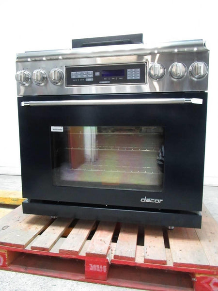 "Dacor Renaissance 36"" 6 Sealed Burners BLK Freestanding Dual-Fuel Range ER36DCLP - ALSurplus AL"