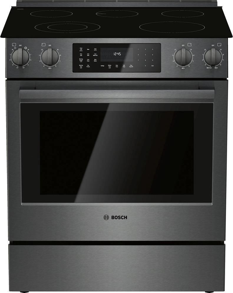 "Bosch 800 Series 30"" Black Stainless Steel Electric Slide-In Range HEI8046U - ALSurplus AL"