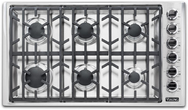 "Viking 5 Series VGSU53616BSS 36"" Professional 6 Burners Gas Cooktop 2019Model IM - ALSurplus AL"
