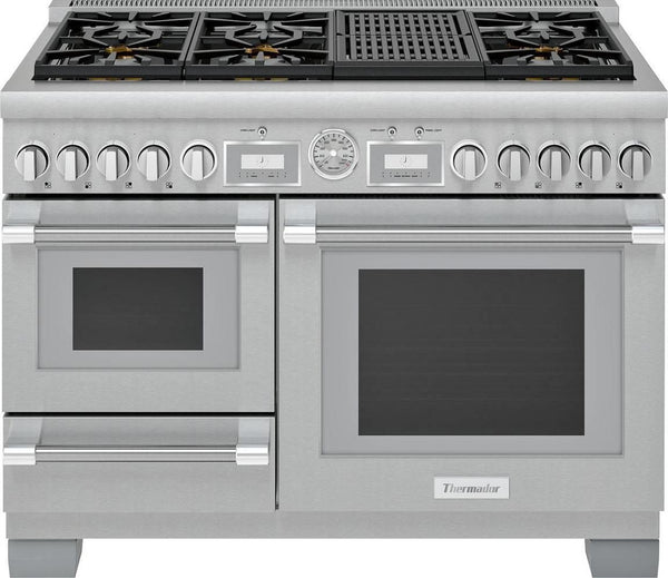 "Thermador Pro Grand 48"" Integrated Grill Pro-Style Dual Fuel Range PRD48WLSGU - ALSurplus AL"
