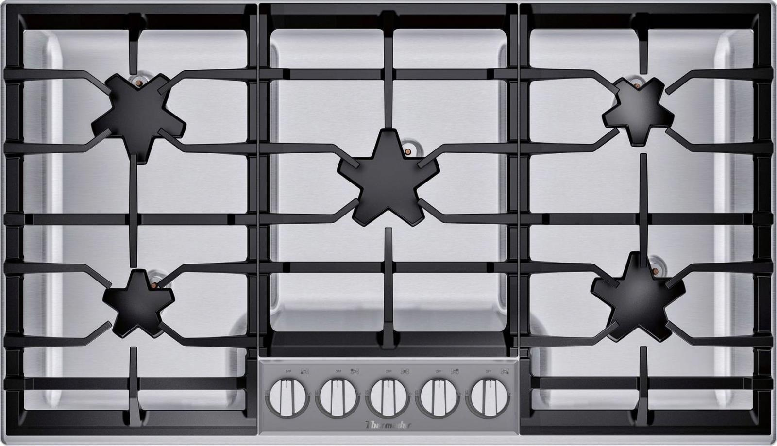 "Thermador 36"" QuickClean Patented 5 Star Burner's Stainless Cooktop SGSP365TS - ALSurplus AL"