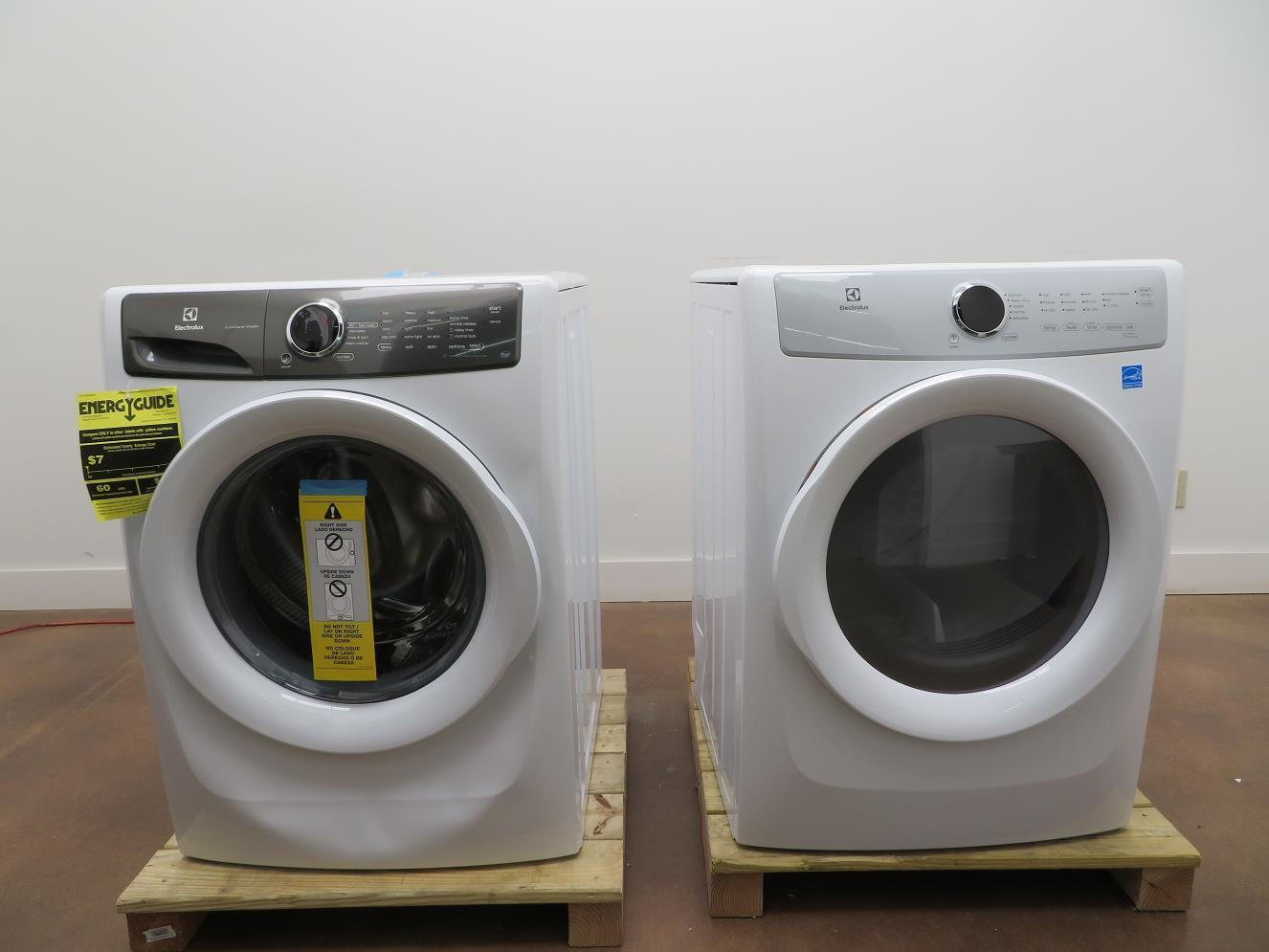 "Electrolux EFLW427UIW / EFDE317TIW 27"" White Front Load Washer & Electric Dryer - ALSurplus AL"