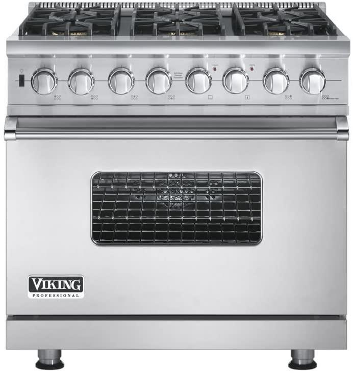 "Viking Professional Series 36"" Convection Oven Pro-Style Gas Range VGSC5366BSS - ALSurplus AL"