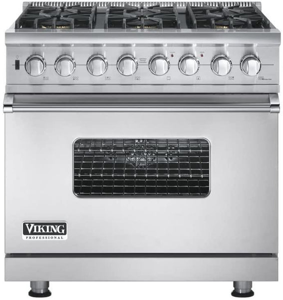 "Viking Professional Series 36"" Convection Oven Pro-Style Gas Range VGSC5366BSS"