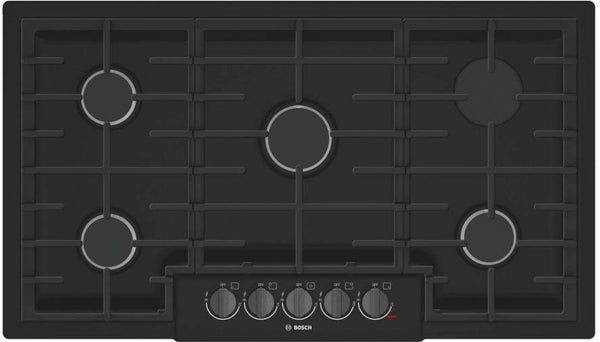 "Bosch 800 Series 36"" BLK Indicator Lights 5 Sealed Burners Gas Cooktop NGM8646UC - ALSurplus AL"
