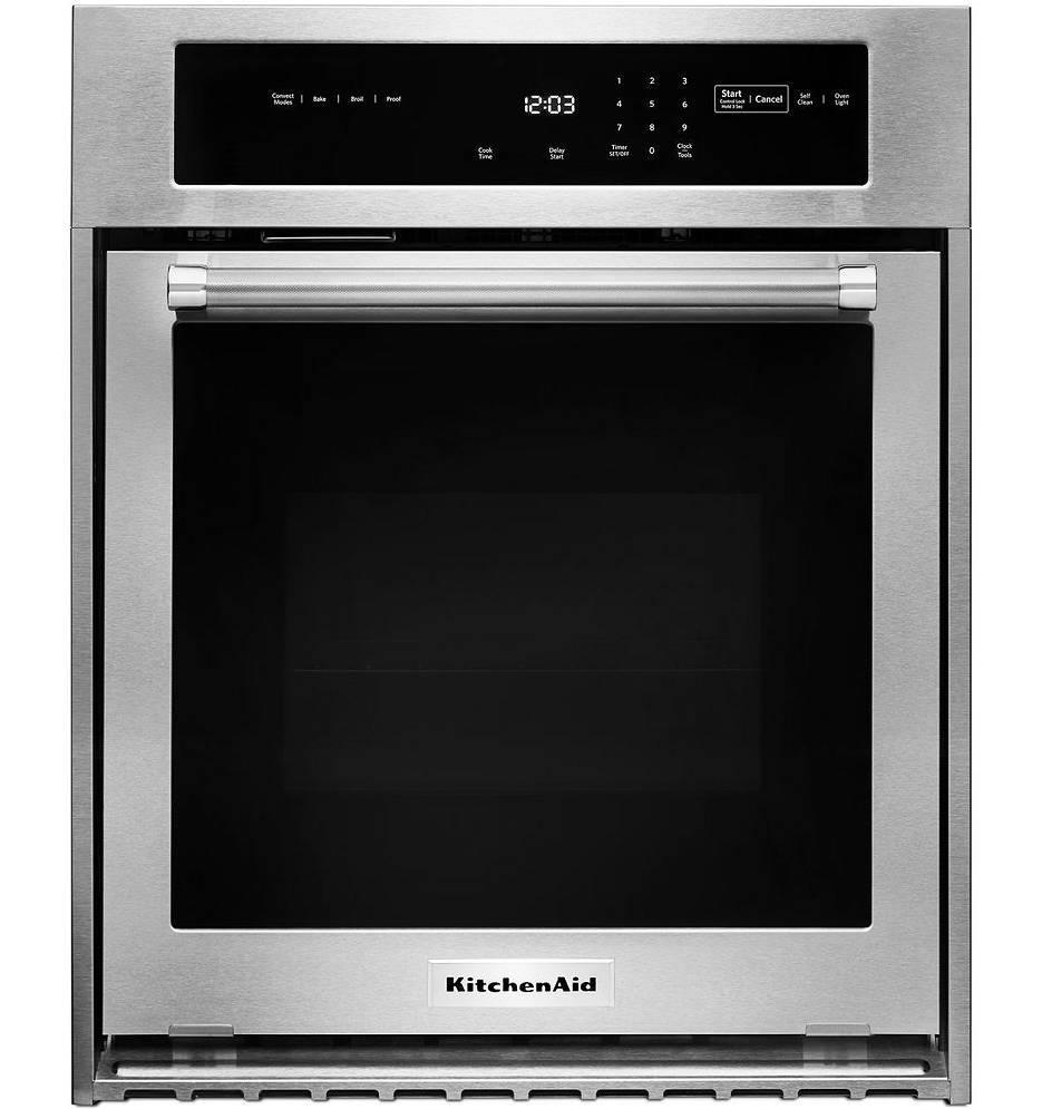 "KitchenAid 24"" 3.1 Cu. Ft Convection Stainless Steel Single Wall Oven KOSC504ESS - ALSurplus AL"