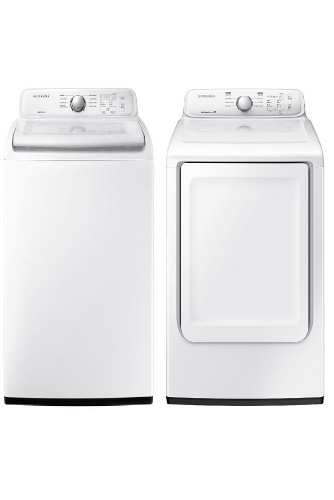 "Samsung WA45N3050AW 27"" Top load Washer & DV40J3000EW 7.2 Cu. Ft Electric Dryer - ALSurplus AL"