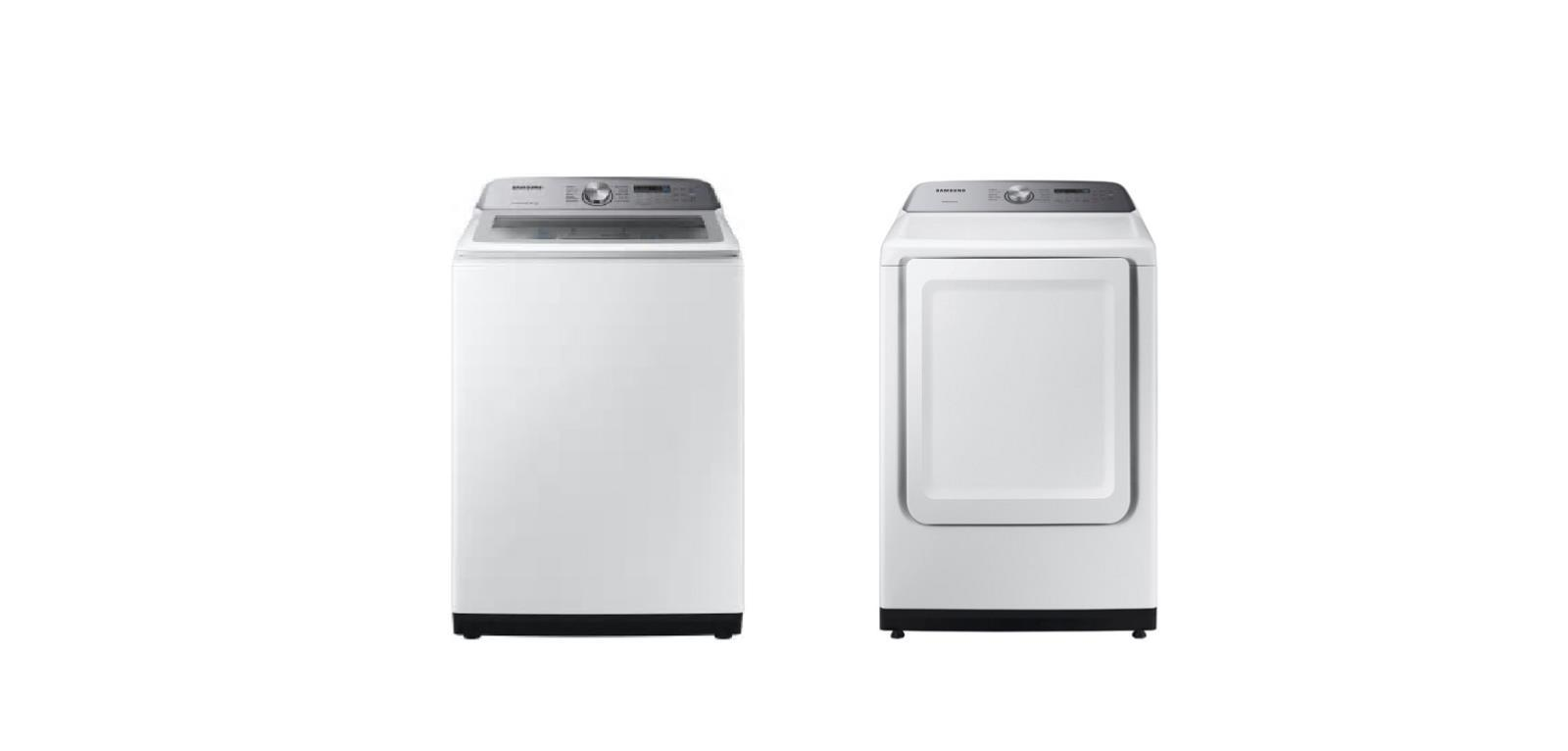 "Samsung WA50R5200AW 27"" Top Load Washer & DVE50R5200W 27"" Electric Dryer Combo - ALSurplus AL"