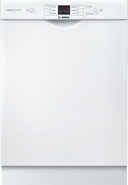 "Bosch 100 Series SHEM3AY52N 24"" Full Console Built-In White Dishwasher Pictures - ALSurplus AL"