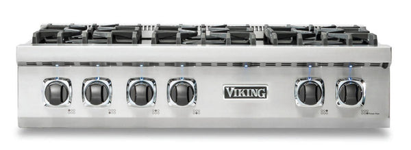 "Viking Professional 5 Series 36"" SS 6 Burner Natural Gas Rangetop VRT5366BSS - ALSurplus AL"