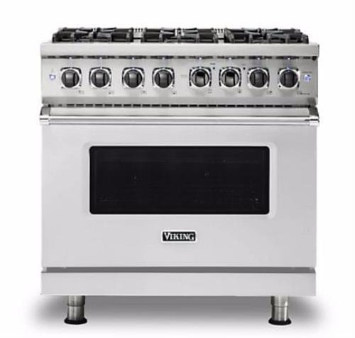 "Viking 5 Series VDR5366BSS 36"" Freestanding Dual Fuel Range with 6 VSH  Burners"
