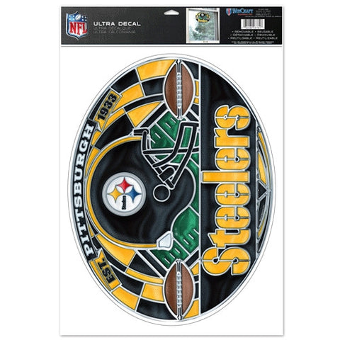 Pittsburgh Steelers Stained Glass Look 11x17 Oval Decal Window Sticker
