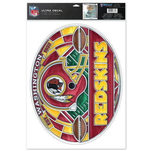 Washington Redskins Stained Glass Look 11x17 Oval Decal Window Sticker