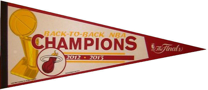 2012-2013 Miami Heat Back-to-Back NBA Champions Pennant (Out of Print)