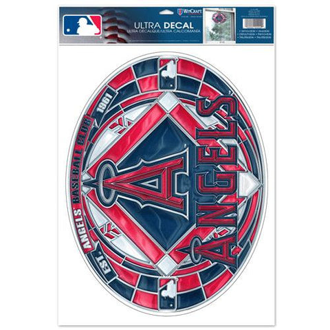 Los Angeles Angels of Anaheim Stained Glass Look 11x17 Oval Decal Window Sticker