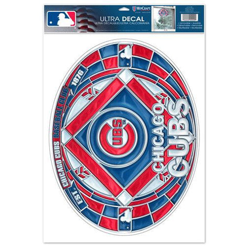 Chicago Cubs Stained Glass Look 11x17 Oval Decal Window Sticker