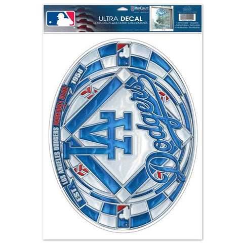 Los Angeles Dodgers Stained Glass Look 11x17 Oval Decal Window Sticker