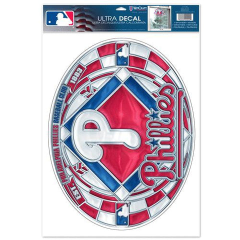 Philadelphia Phillies Stained Glass Look 11x17 Oval Decal Window Sticker