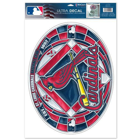 St. Louis Cardinals Stained Glass Look 11x17 Oval Decal Window Sticker