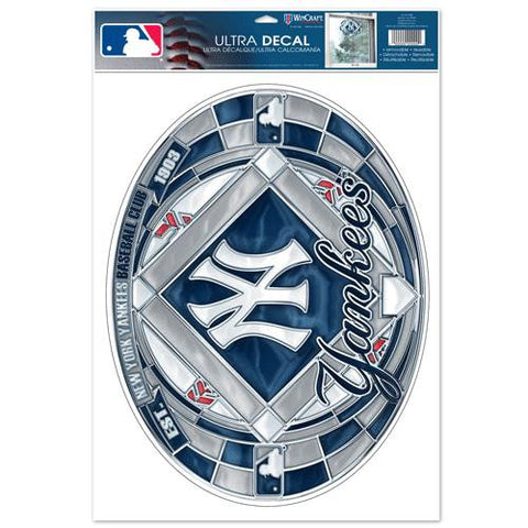 New York Yankees Stained Glass Look 11x17 Oval Decal Window Sticker