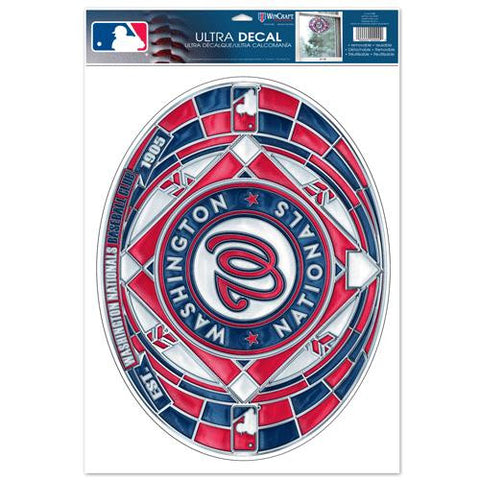 Washington Nationals Stained Glass Look 11x17 Oval Decal Window Sticker