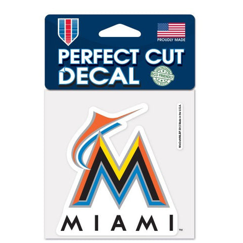 Miami Marlins Full Color Car Window Sticker Decal 4x4 Inches
